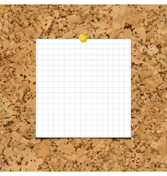 Sheet of paper into a cell on cork board vector