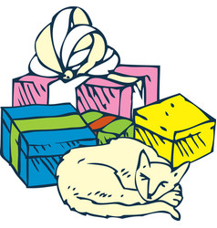 Sleeping cat and gifts vector