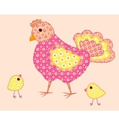 stitched hen and chickens vector image vector image