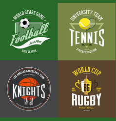 tennis racket soccer basketball ball rugby cup vector image vector image