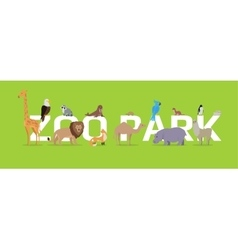 Zoo park conceptual flat style web banner vector