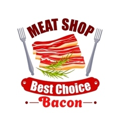 Meat shop sign of bacon fork for butchery design vector