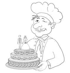 Cook with holiday wedding cake contour vector image
