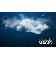 Magic christmas cloud shining stars night sky vector