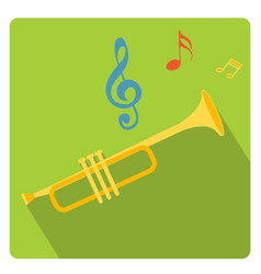 trumpet musical instrument icon flat style with vector image