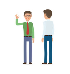 Businessmen showing ok gesture flat vector