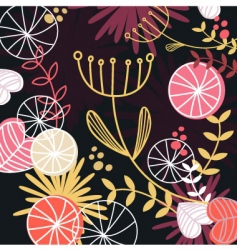Retro floral pattern background vector