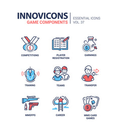 Game components - modern line design icons vector
