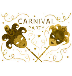 White carnival party card with two golden masks vector