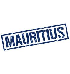 Mauritius blue square stamp vector