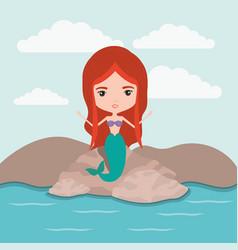 mermaid fantastic character in a rock sea vector image