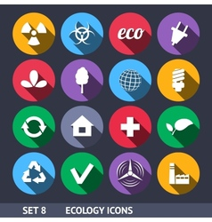 Ecology Icons With Long Shadow Set 8 vector image