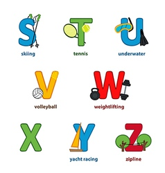 Alphabet sport from s to z vector