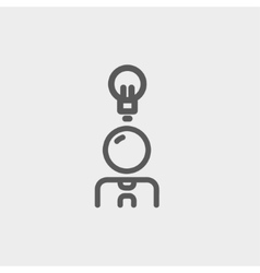 Businessman with ideas thin line icon vector