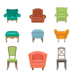 Interior luxury and wood chairs vector