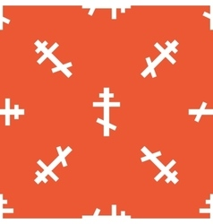 Orange orthodox cross pattern vector