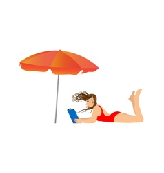Young woman reading a book under an umbrella vector