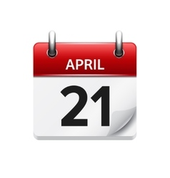 April 21 flat daily calendar icon date vector