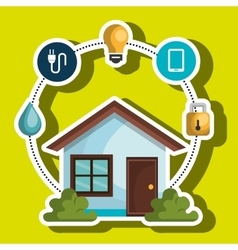 Smart home with menu settings isolated icon design vector