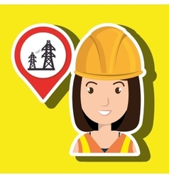Woman and electricity isolated icon design vector
