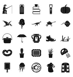 Acquisition of knowledge icons set simple style vector