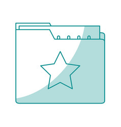 Blue shading silhouette of folder with files sheet vector