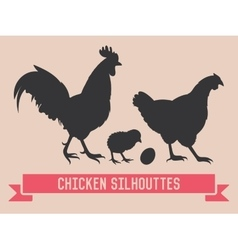 Chicken silhouettes vector