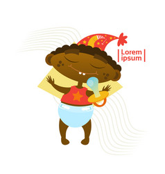 Cute baby boy sleeping african american toddler vector