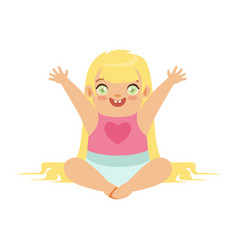 cute blonde baby girl sitting with arms raised vector image vector image