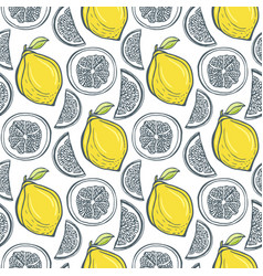 cute yellow lemons pattern handdrawn seamless vector image vector image