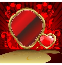 Design with a gold frame and heart arrow vector
