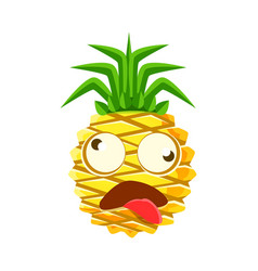 Dizzy pineapple emoticon cute cartoon emoji vector