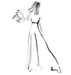 Fashion models sketch girl in dress vector