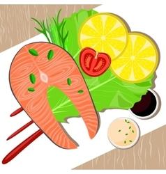 Fish dish on plate healthy food vector