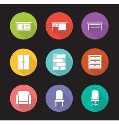 Furniture flat design icons set vector image