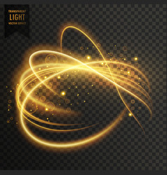 Golden transparent light effect with curve trails vector