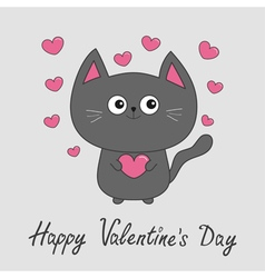 Happy Valentines Day Gray contour cat holding pink vector image