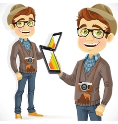 Hipster guy in hat with a tablet computer vector