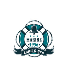 Marine life buoy badge for sea travel vector