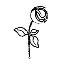 Monochrome blurred silhouette with abstract flower vector
