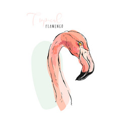 pink flamingo watercolor splashes colorful paint vector image