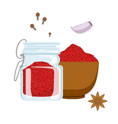 Red paprika powder in wooden bowl and glass jar vector