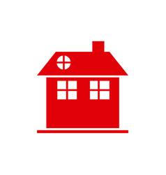 Red silhouette facade house two floors with vector