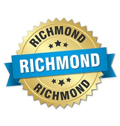 Richmond round golden badge with blue ribbon vector