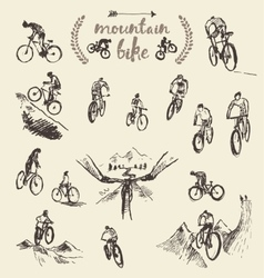 Set hand drawn mountain bike cyclist sketch vector image vector image