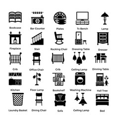 Set of interior and decoration glyph icons 9 vector