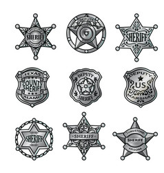 Silver sheriff badges collection vector