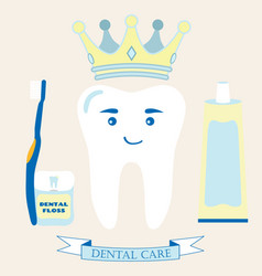 tooth in the crown toothbrush toothpaste dental vector image vector image