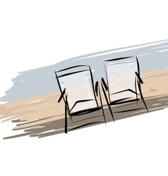 Two deck chairs on the beach sketch for your vector image vector image