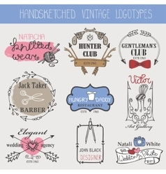 Vintage logotypes setDoodle hand sketchy vector image